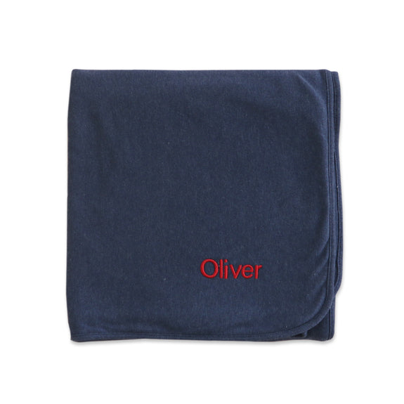 Personalised Organic Baby Blanket - Navy Marl - Lovingly Signed - SG