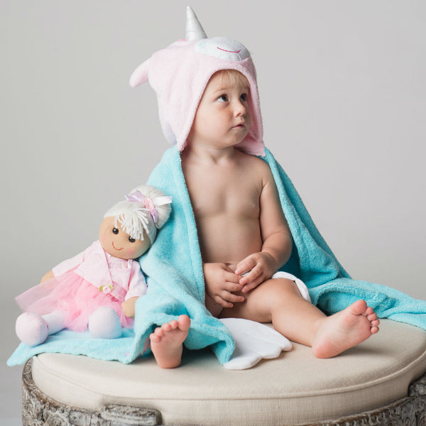 Personalised Allie The Unicorn Hooded Towel - Lovingly Signed