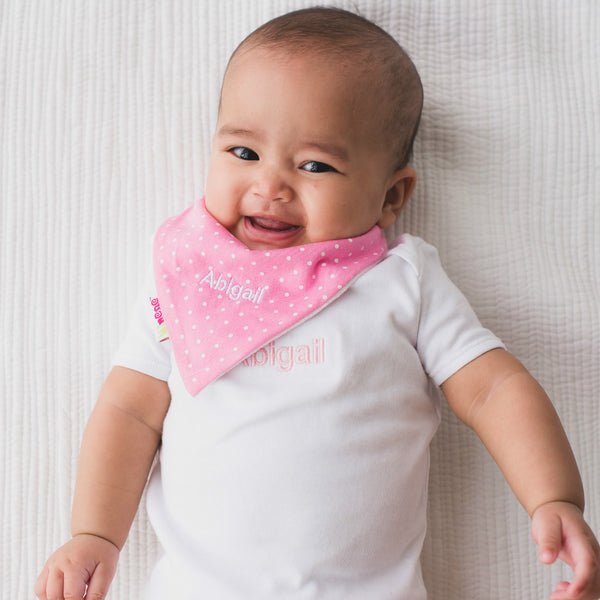 Personalised Bandana Bib Set - Pink & White - Lovingly Signed