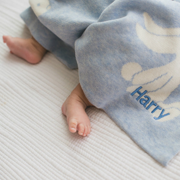 Personalised Bashful Blue Bunny Blanket - Lovingly Signed