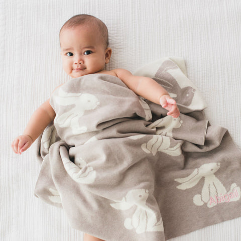 Personalised Bashful Beige Bunny Blanket
