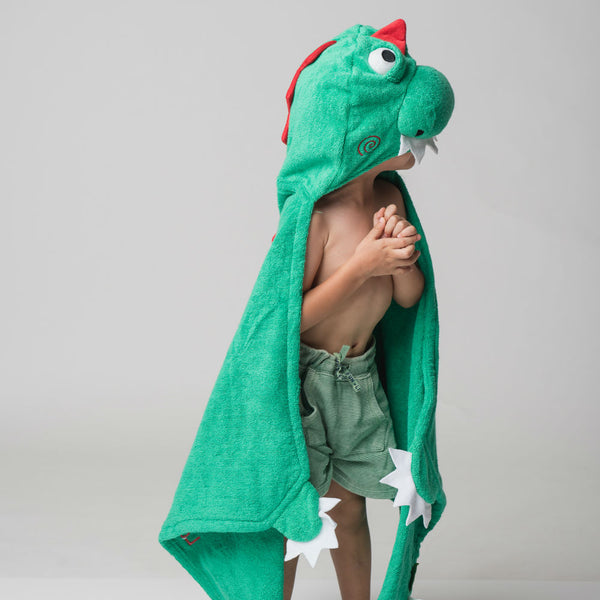 Personalised Devon The Dinosaur Hooded Towel - Lovingly Signed