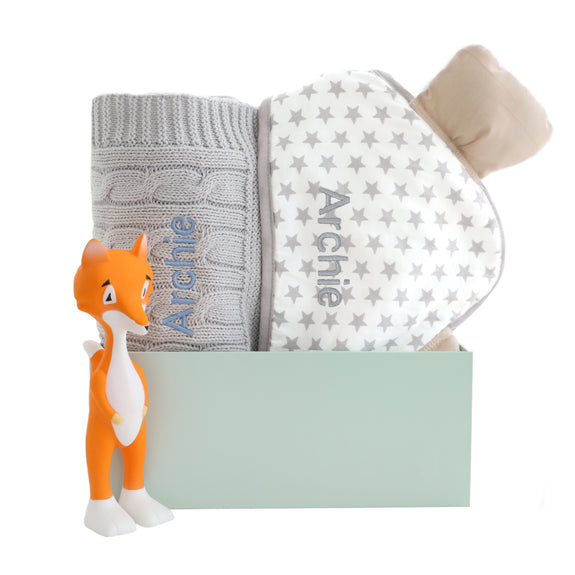 Personalised Ear Hooded Towel, Blanket and Ethan the Fox Set