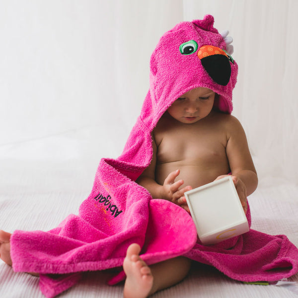 Personalised Florrie The Flamingo Hooded Towel - Lovingly Signed