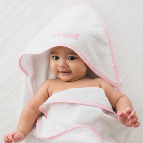 Personalised Luxury Baby Pink Gingham Trim Hooded Towel