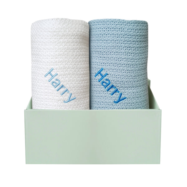 Personalised Organic Cotton Blanket Duo - Blue/White