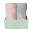 Personalised Organic Cotton Blanket Duo - Pink/Grey