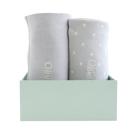 Personalised Polka Dot Blanket Duo Set - Grey