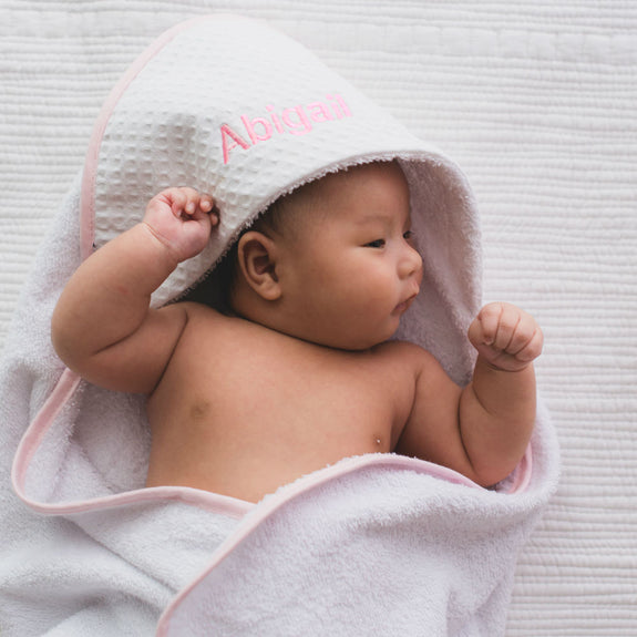 Personalised Luxury Baby Waffle Hooded Towel - Pink - Lovingly Signed