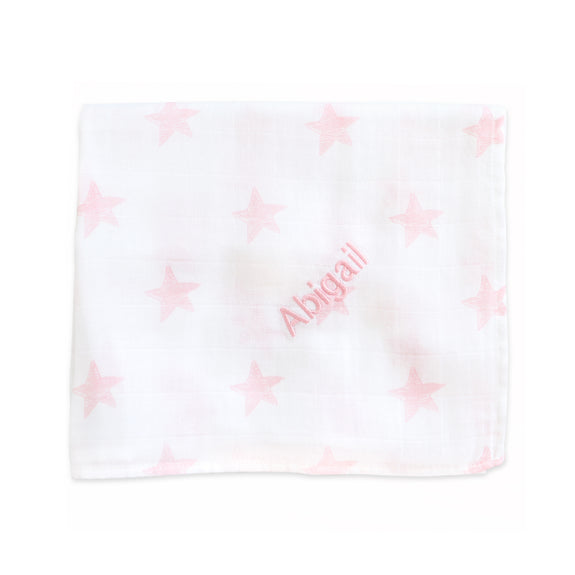 Personalised Muslin Swaddle Blanket - Pink & White Stars - Lovingly Signed - SG