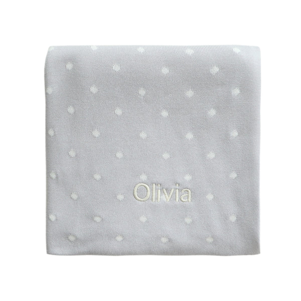 Personalised Polka Dot Blanket - Grey