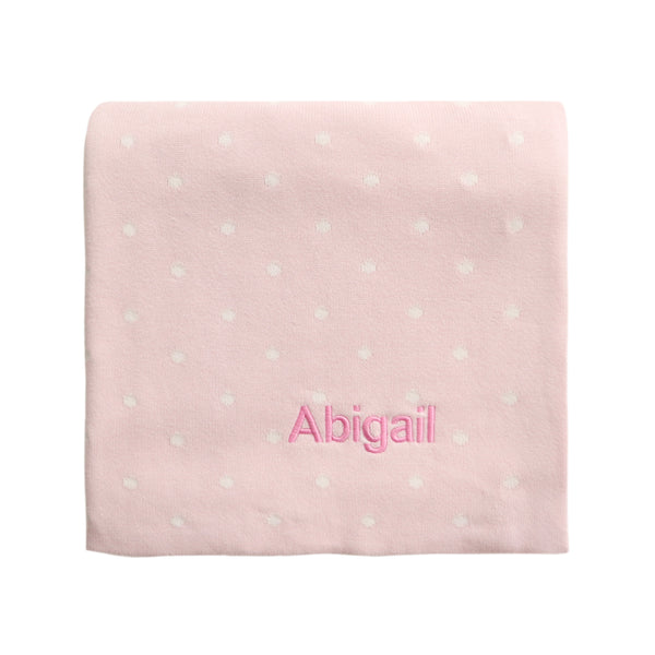 Personalised Polka Dot Blanket - Pink