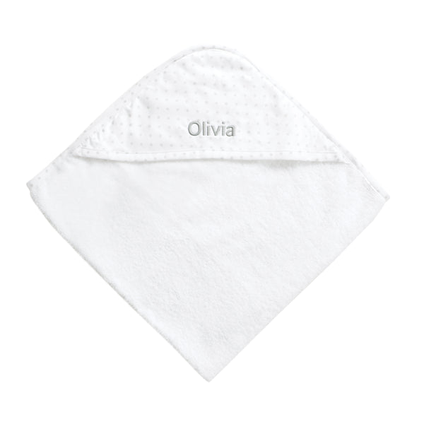 Personalised Polka Dot Hooded Towel - Grey