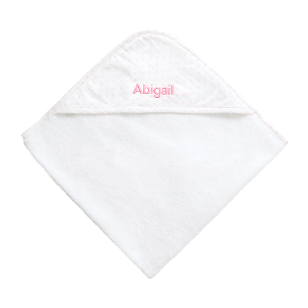 Personalised Polka Dot Hooded Towel - Pink