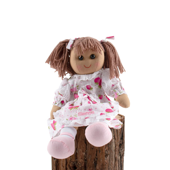 Personalised Strawberry Dress Ragdoll with Apron - Lovingly Signed - SG