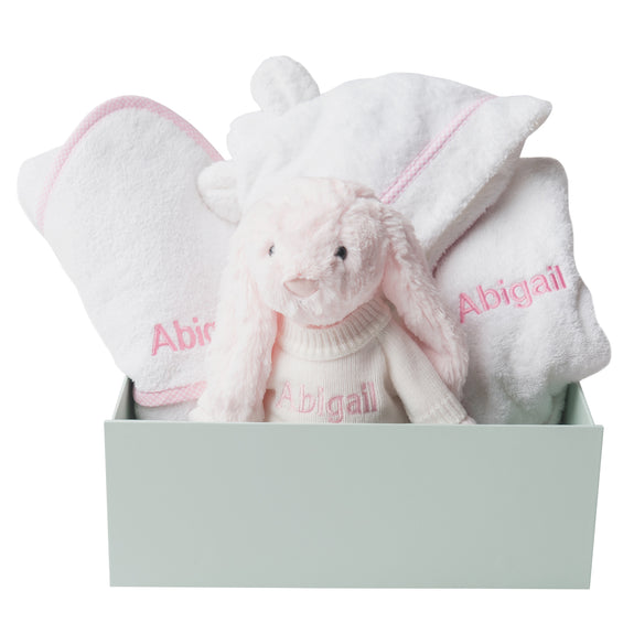 Personalised Bunny Snuggles Baby Bath Set - Pink Gingham - Lovingly Signed - SG
