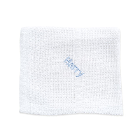 Personalised Soft Cellular Cotton Blanket - Bright White