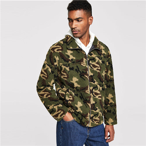 f849476ec5 SHEIN Men Multicolor Casual Zip Up Camo Teddy Camouflage Collar Long Sleeve  Jacket Autumn Minimalist Mens