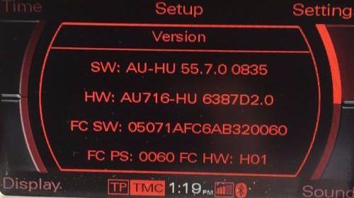 Audi MMI 2G High Firmware Update 55.7.0 8K0998961/4L0998961 - SatNavUpgrade