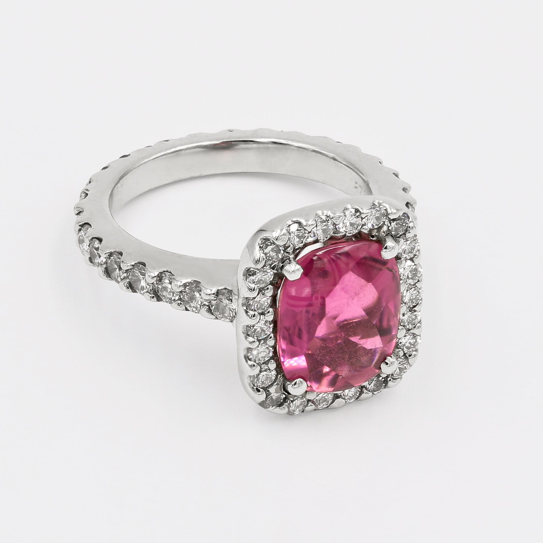 Cabochon Rhodolite Garnet and Diamond Ring