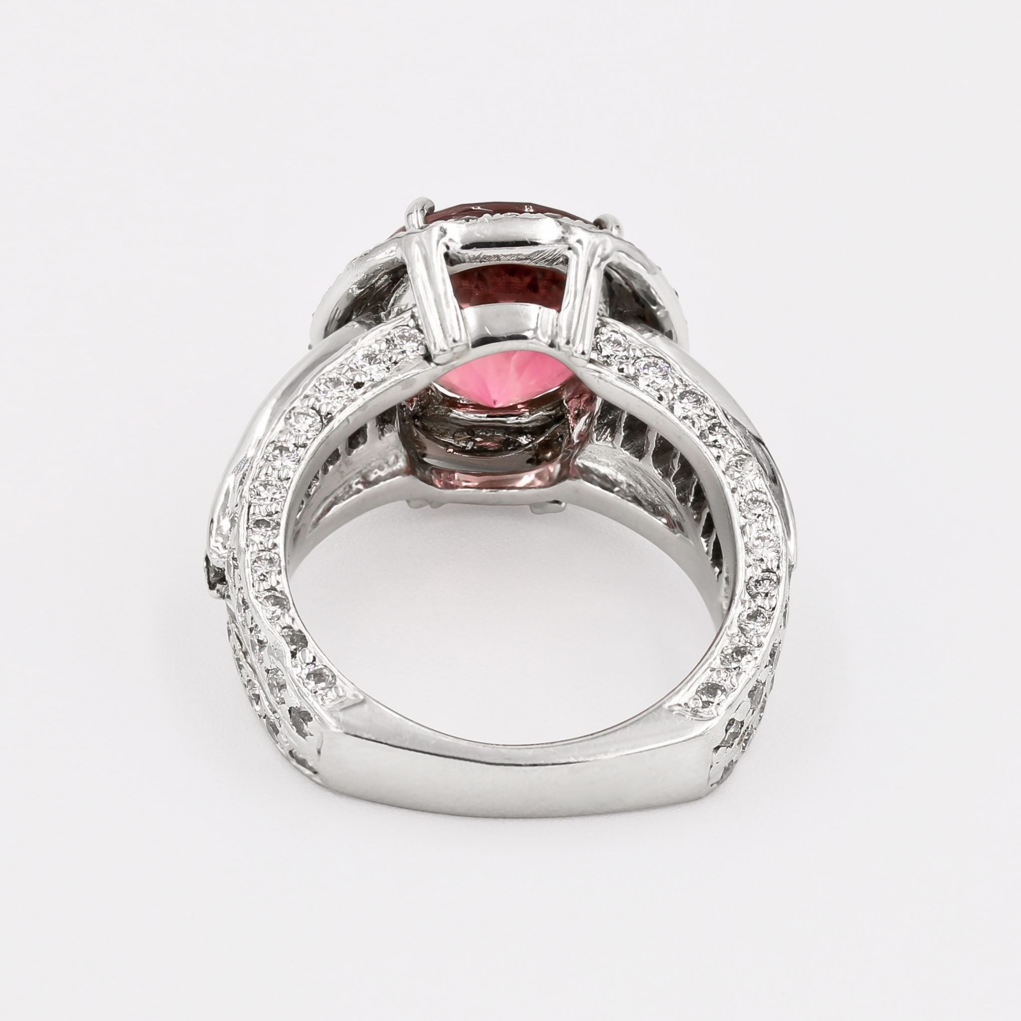 Natural Pink Tourmaline and Diamond Halo Ring