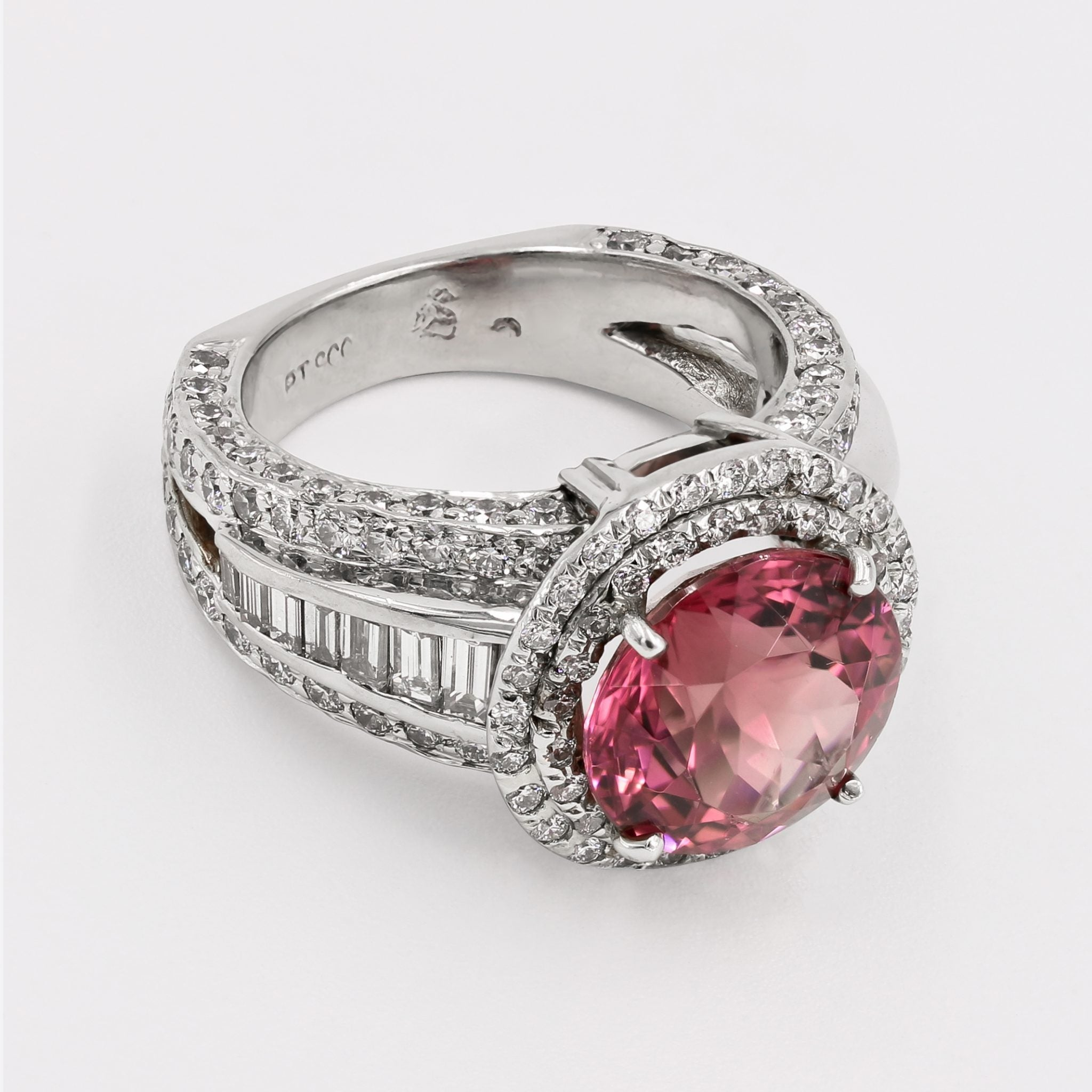 Natural Pink Tourmaline and Diamond Ring For Sale