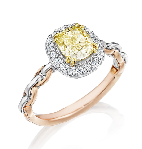 Image of Tri-color Platinum, Yellow Gold, and Rose Gold Ring with Chardonnay Diamond and Halo Setting