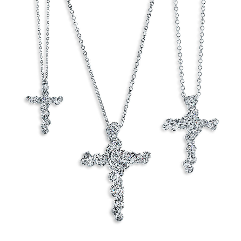 Platinum and Diamond Cross Necklaces