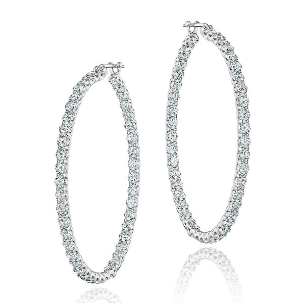 Large Diamond Skallop Hoop Earrings
