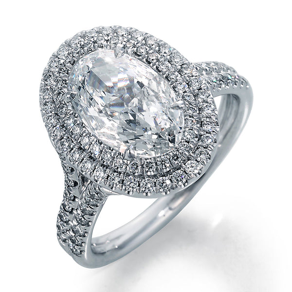 Image of Oval Diamond in a Diamond Double Halo Setting Ring