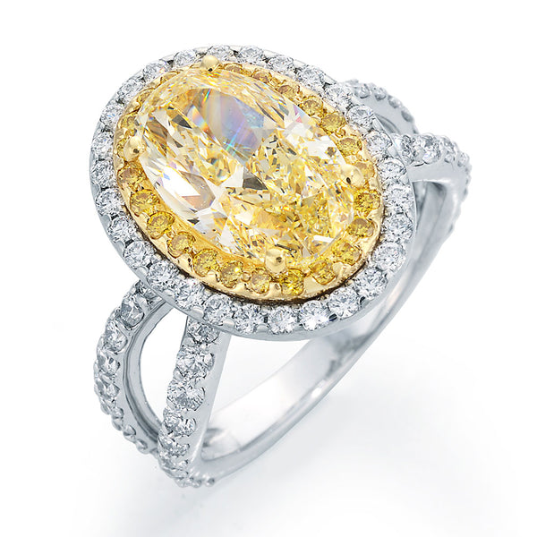 Oval Cut Chardonnay Diamond Ring