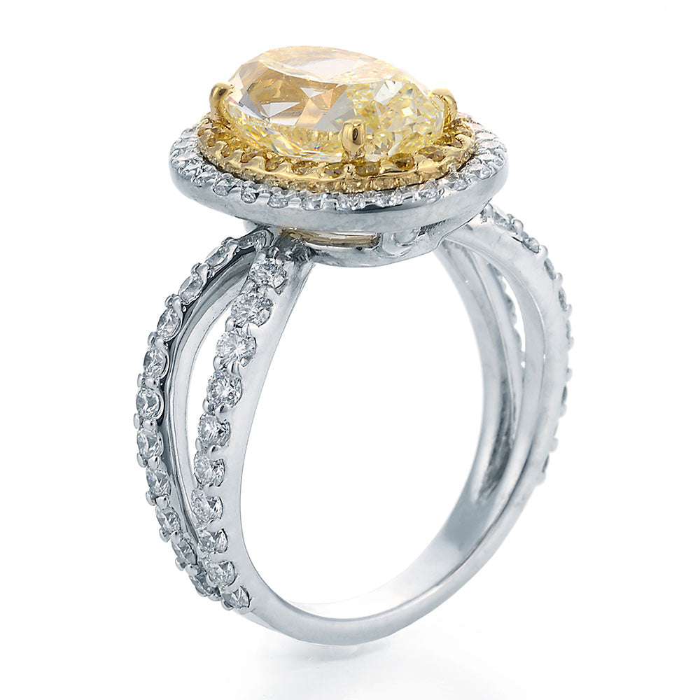 Side View Image of Oval Cut Chardonnay Diamond set in Yellow & White Gold Ring