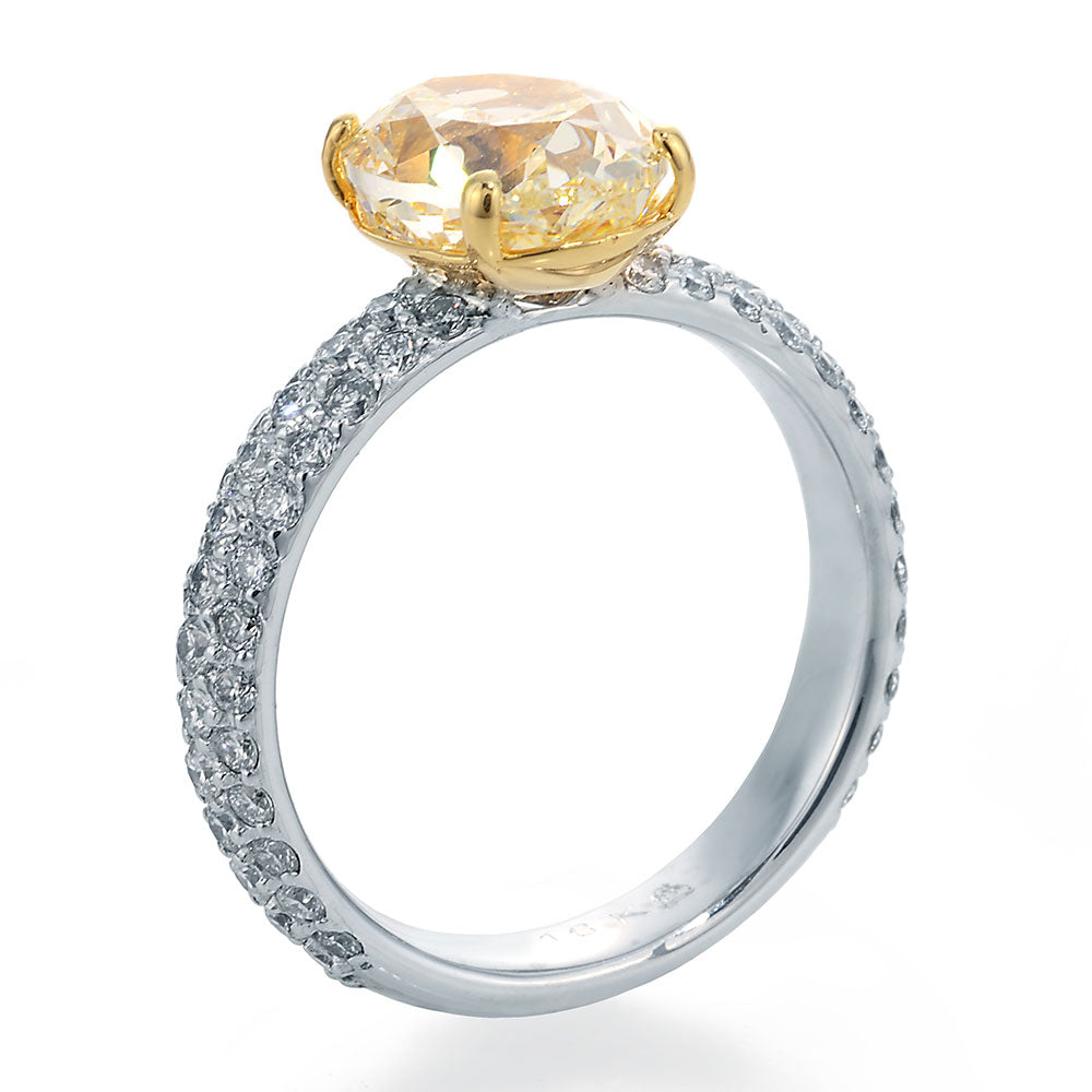 Oval Cut Chardonnay Diamond Set in White and Yellow Gold Ring