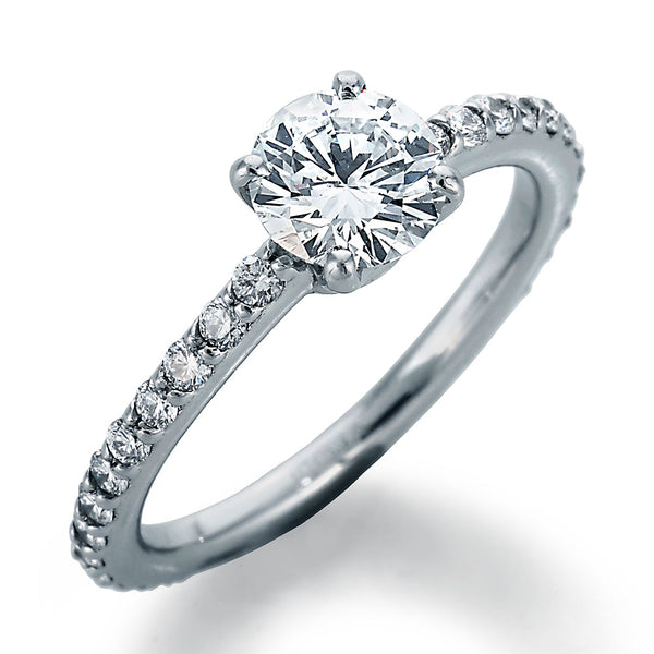 Image of DBead Setting Engagement Ring with Round Center
