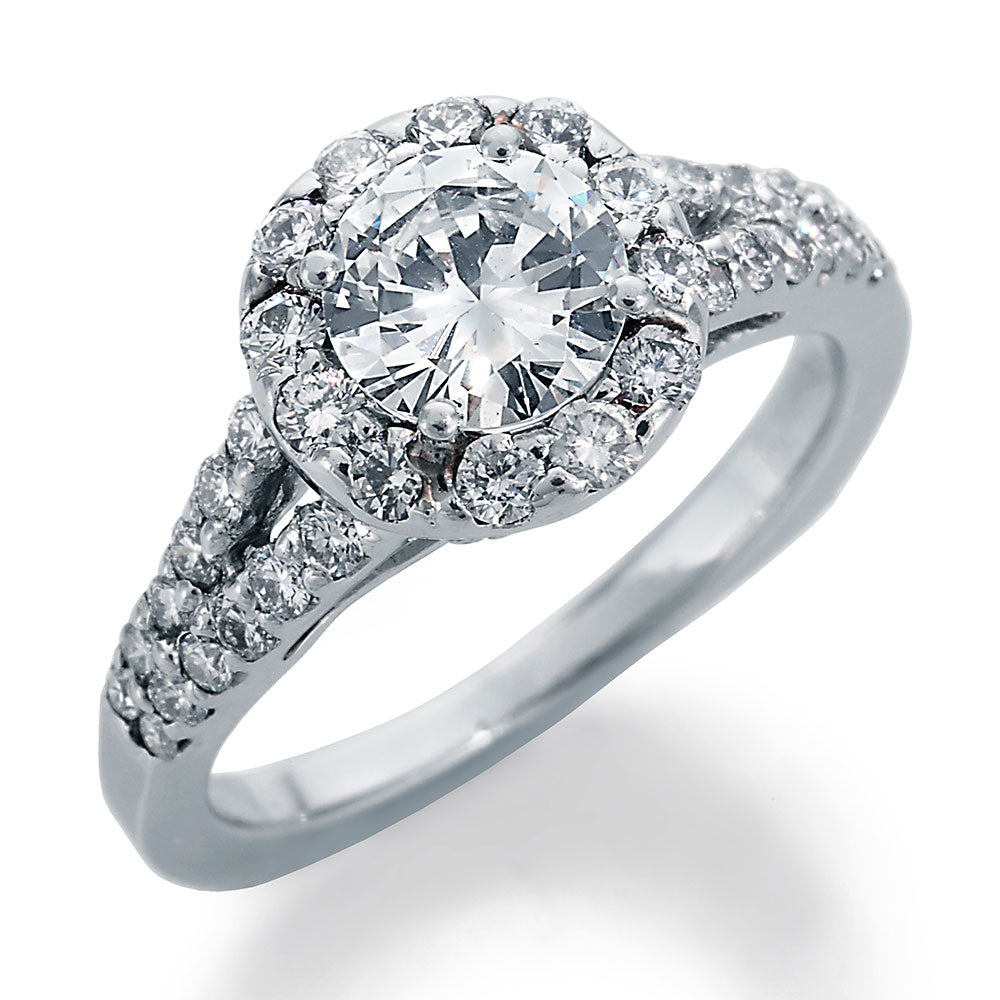 Image of Round Center Diamond and Ideal Cut Round Accent Diamonds Engagement Ring