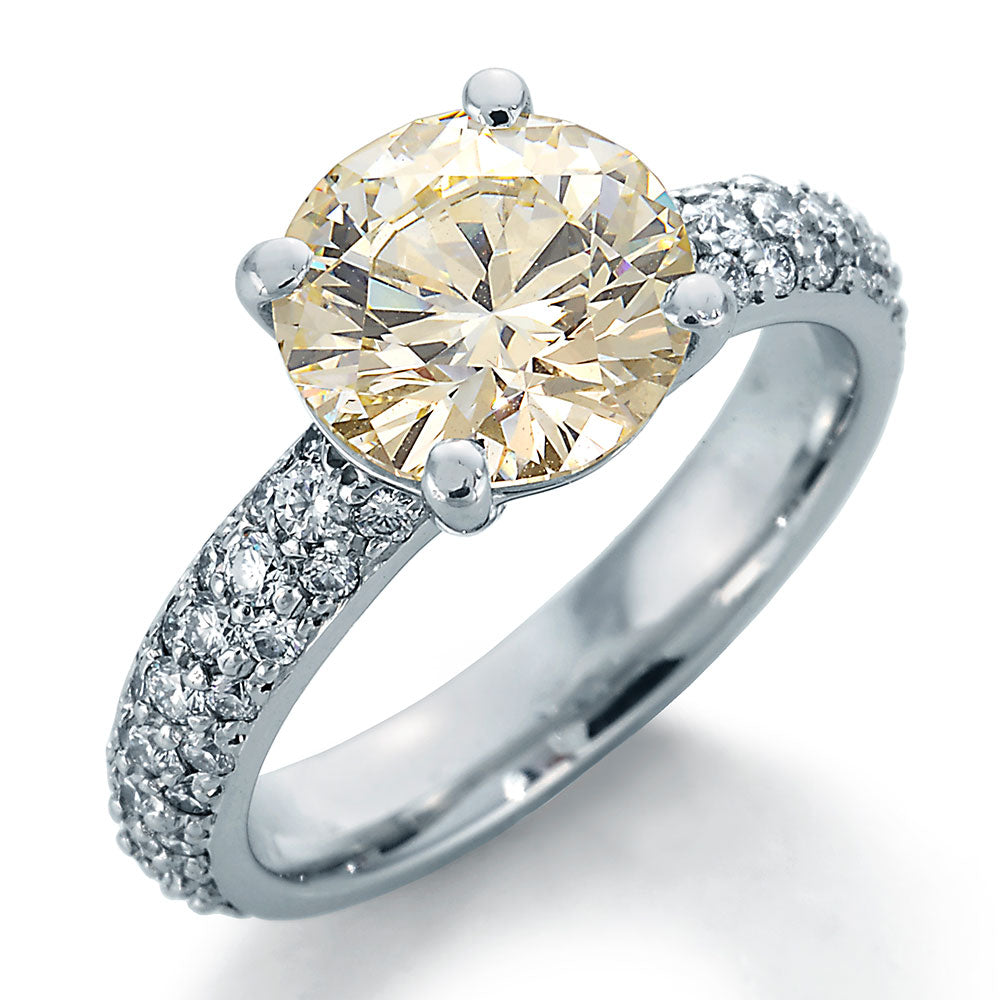 Image of Engagement Ring with Chardonnay Round Center and Round Accent Diamonds