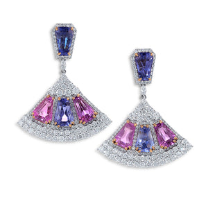 Fan Shaped Blue and Pink Sapphires Diamond Earrings