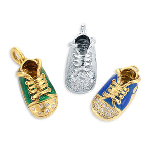 Platinum and Yellow Gold Diamond Gym Shoe Charm Pendants