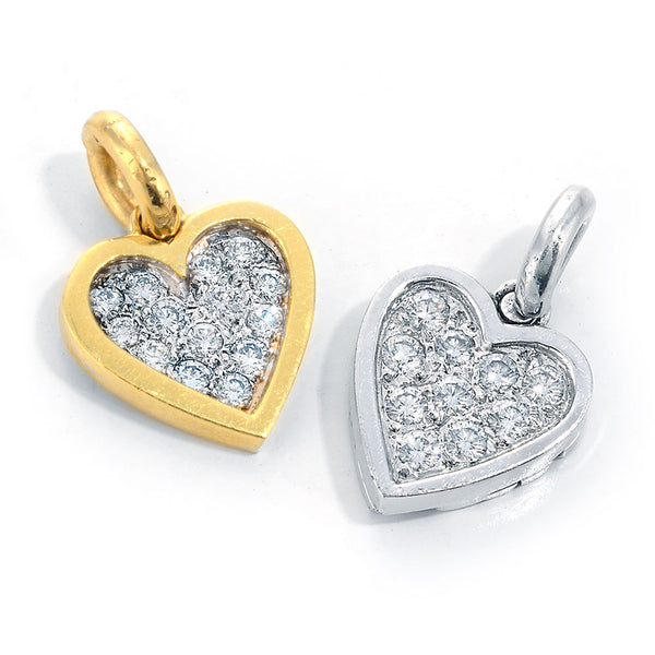 gold and platinum heart pendants