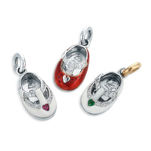 Image of Platinum Mary Jane Shoe with Hearts and Diamonds Charm Pendants