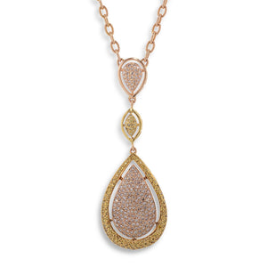 Image of Natural Pink and Yellow Diamond Drops Necklace