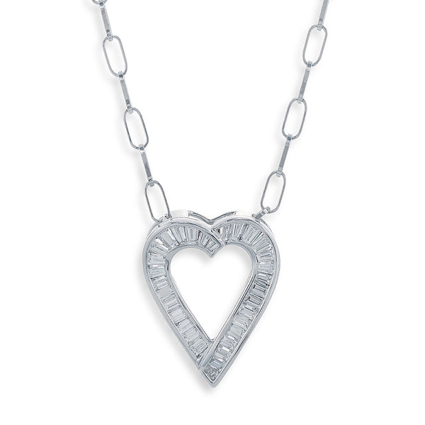 Image of Platinum and Baguette Cut Diamond Necklace