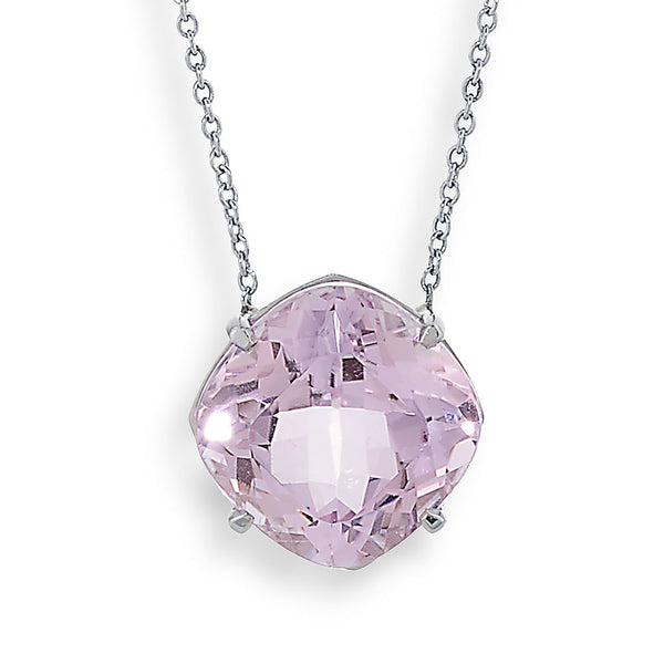 platinum necklace with pink stone