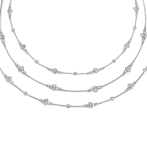 Image of Three Pirouette Platinum and Diamond Invizels Necklaces