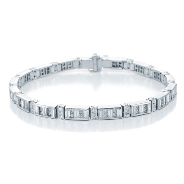 Image of L'Eclipse Diamond Bracelet with Princess Cut and Straight Baguette Diamonds