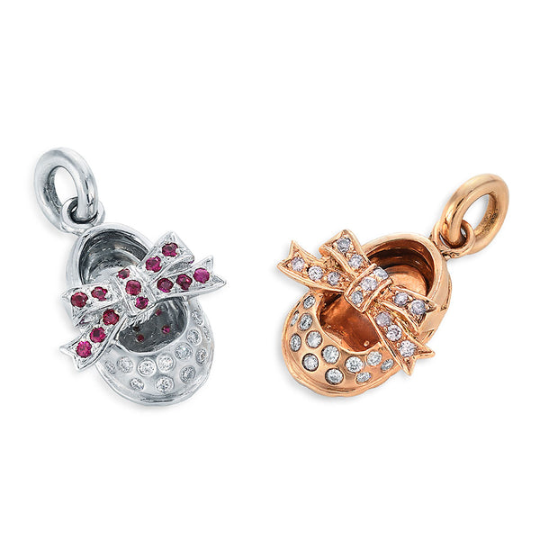 Image of Platinum and Rose Gold Ribbon Shoes with Rubies and Diamonds Charm Pendants