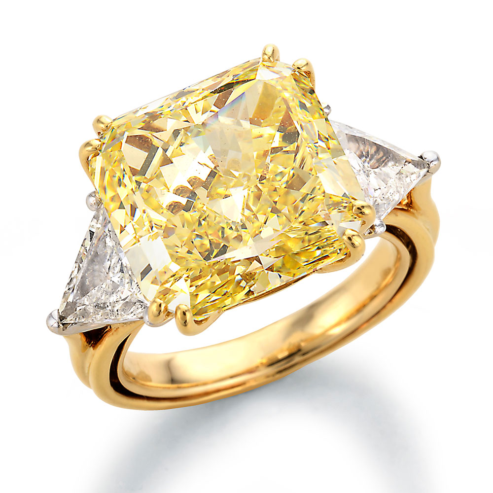 Image of Fancy Yellow Radiant Center with Trilliant Cut Diamonds Engagement Ring