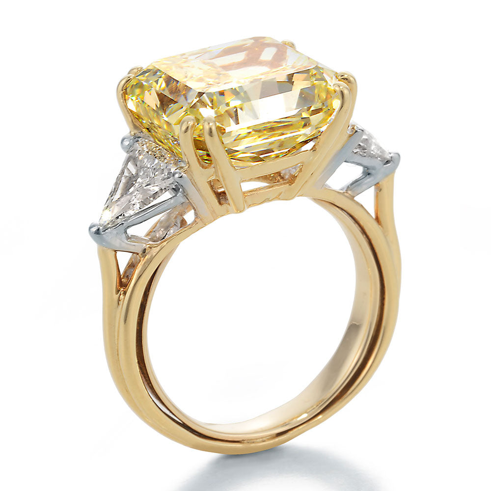 Side View Image of Fancy Yellow Radiant Center with Trilliant Cut Diamonds Engagement Ring
