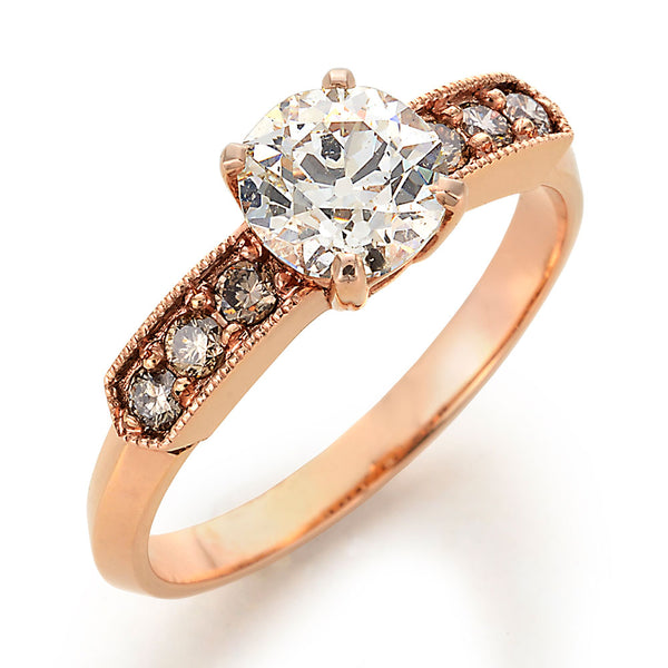 Cognac Diamond Engagement Ring