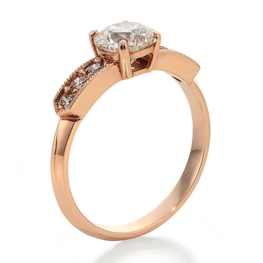 Side View Image of Old European Cut and Cognac Round Diamonds Engagement Ring